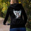 Hochwertiger, kuscheliger Hoodie für Biker Ladies Deathhead Rose